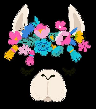 Llama illustration, cute hand drawn elements and design for nursery design, poster, greeting card Illustration