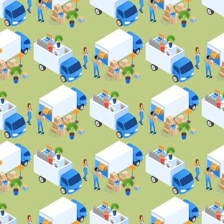 Loading Furniture Truck Seamless Pattern Illustration