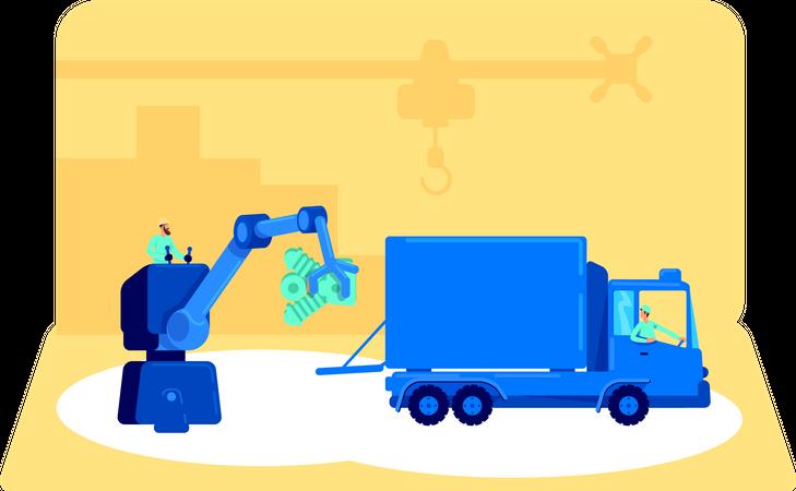 Loading product in van Illustration