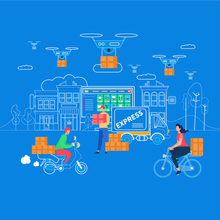 Logistics, Delivery Home and Office from Drone Illustration