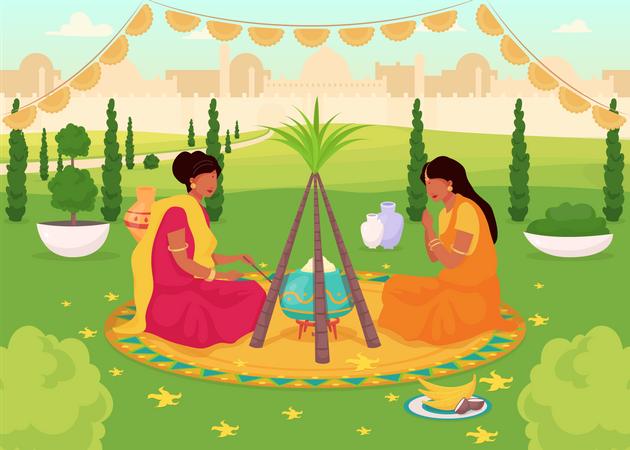 Lohri celebration Illustration
