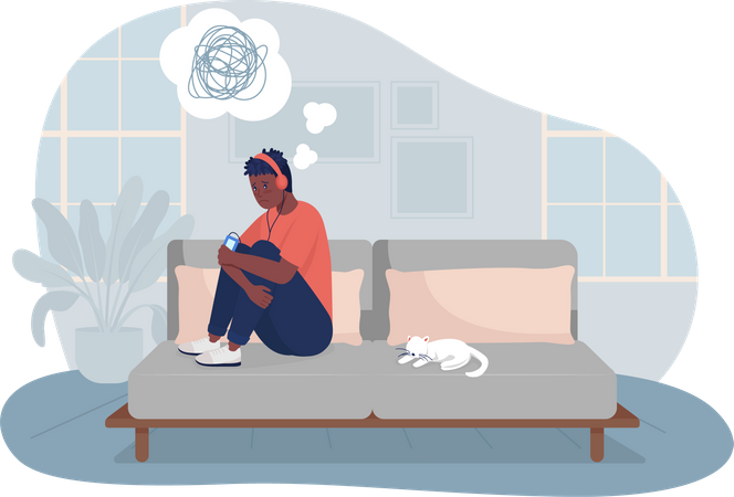 Lonely teen boy at home Illustration
