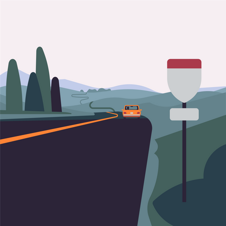 Long road with lone car in a distance and abstract highway sign board Illustration