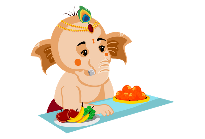 Lord Ganesh is sitting with the laddu and fruit plate Illustration