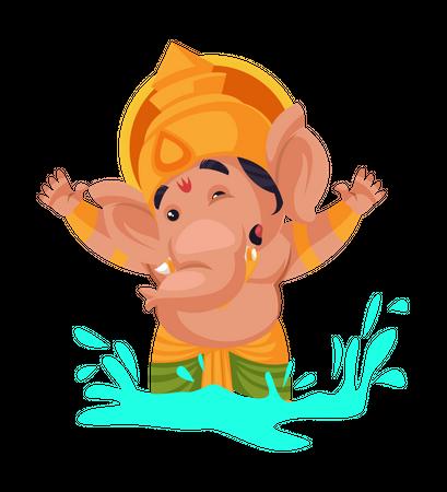 Lord Ganesha enjoying in water Illustration