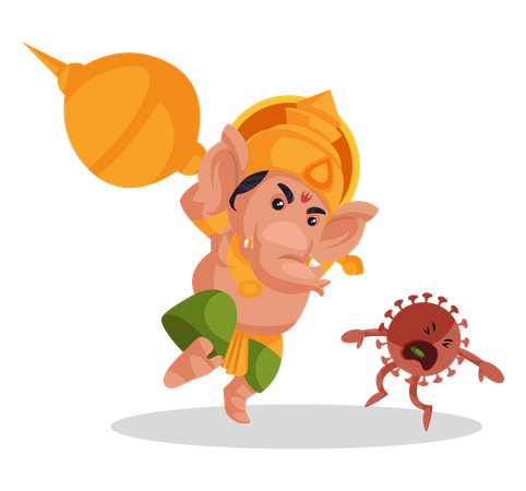 Lord Ganesha fighting with corona Illustration