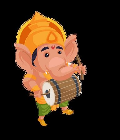 Lord Ganesha playing drum Illustration