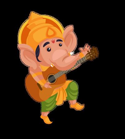 Lord Ganesha playing guitar Illustration