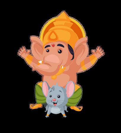 Lord Ganesha riding on mouse Illustration