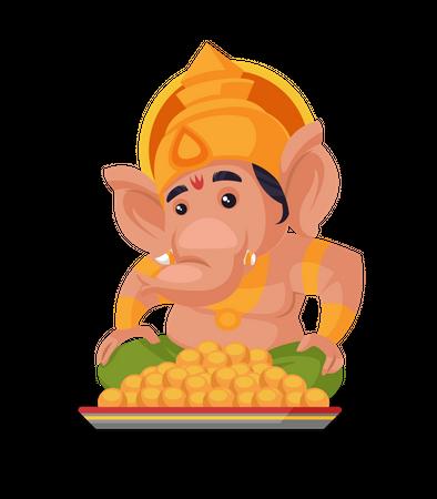 Lord Ganesha sitting next to laddu plate Illustration