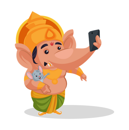 Lord Ganesha taking selfie with his pet Illustration