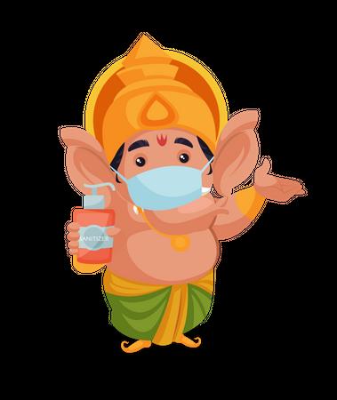 Lord Ganesha wearing mask and holding sanitizer Illustration