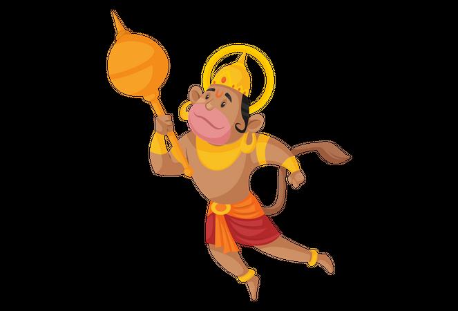 Lord Hanuman flying Illustration