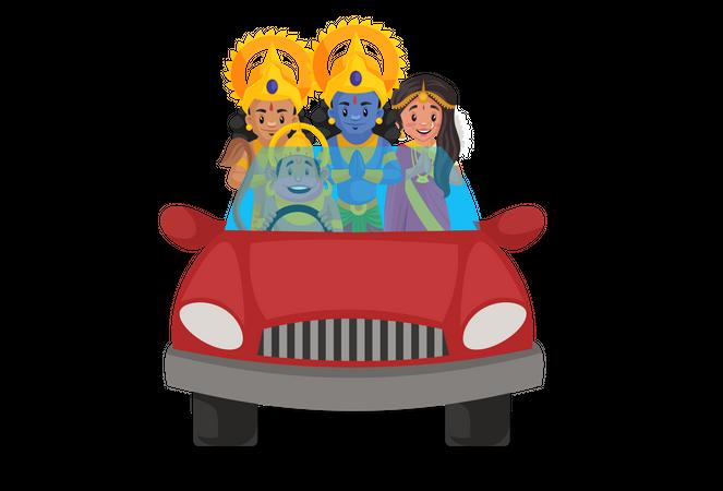 Lord Hanuman riding car with Ram, Sita and Lakshmana Illustration