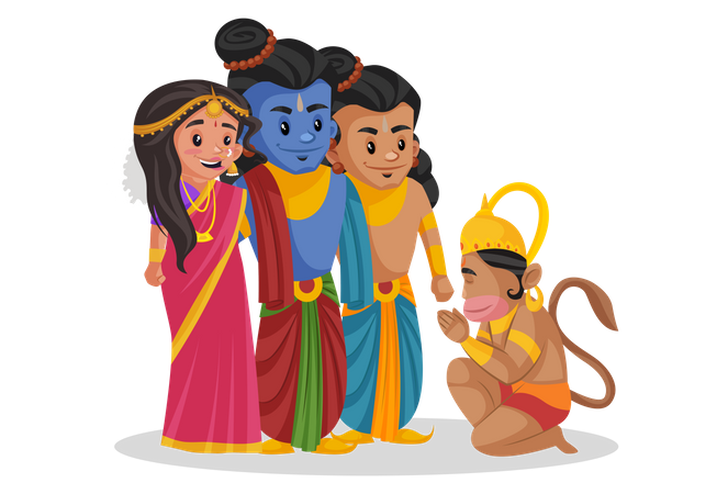 Lord Hanuman taking blessings from Ram and Sita Illustration