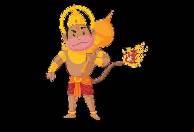Lord Hanuman with burning tail Illustration