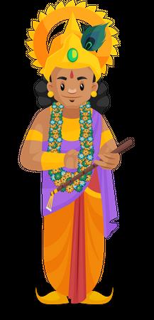 Lord Krishna holding flute in hand Illustration