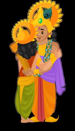 Lord Krishna meeting arjun Illustration