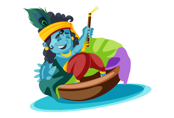 Lord Krishna On River boat with flute Illustration