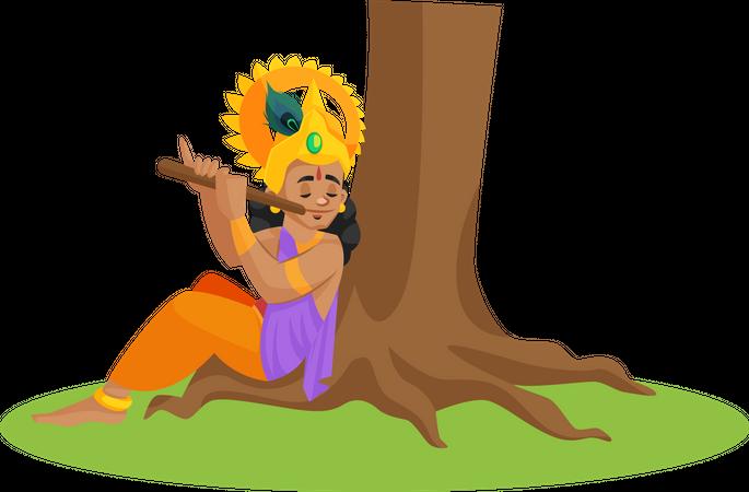 Lord Krishna playing flute Illustration