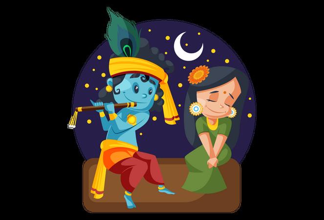 Lord Krishna Playing flute with Radhe at night Illustration