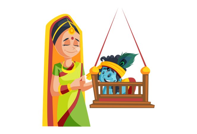 Lord Krishna Playing with his Mother on Swing Illustration