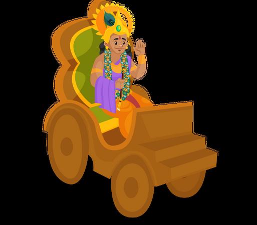 Lord Krishna sitting on Rath Illustration