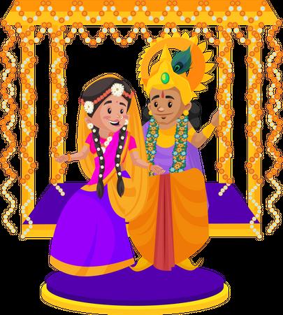 Lord Krishna sitting on swing with Goddesses radha Illustration