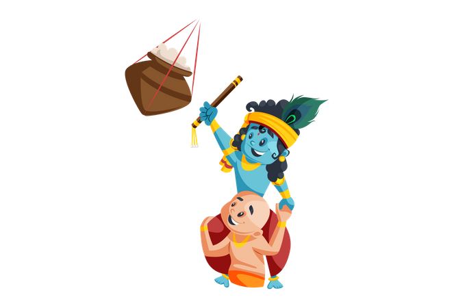 Lord Krishna Stealing Butter from hanging pot with Brother Balram Illustration