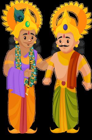 Lord Krishna talking with Arjun Illustration