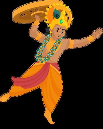 Lord Krishna throwing wheel Illustration