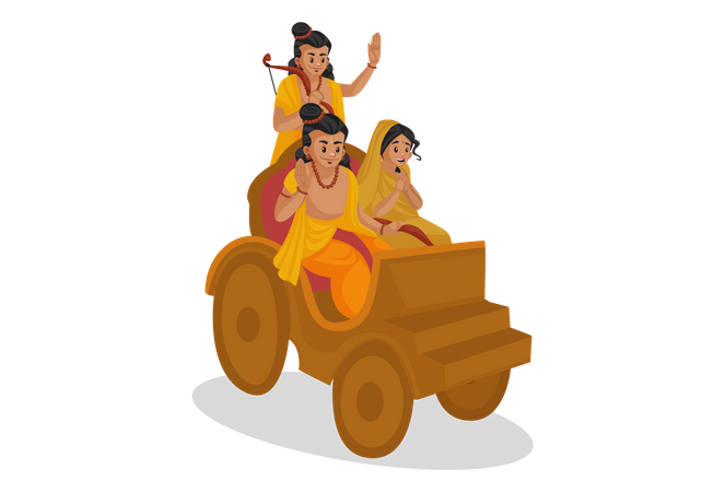 Lord Ram, Goddesses Sita and Lakshmana going in equipage Illustration