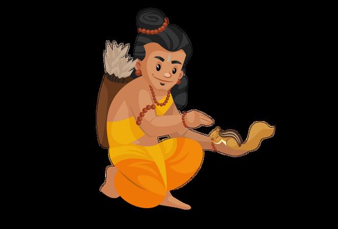Lord Ram pampering squirrel Illustration