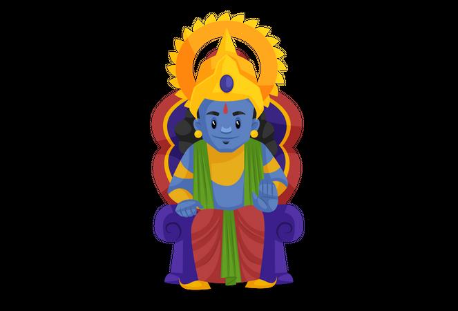 Lord Ram sitting on throne Illustration