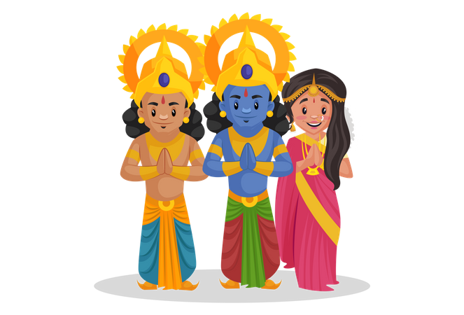 Lord Ram with Lakshmana and Goddesses Sita standing in Indian greeting pose Illustration