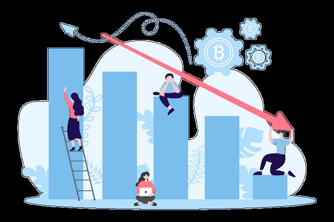 Loss in bitcoin valuation Illustration