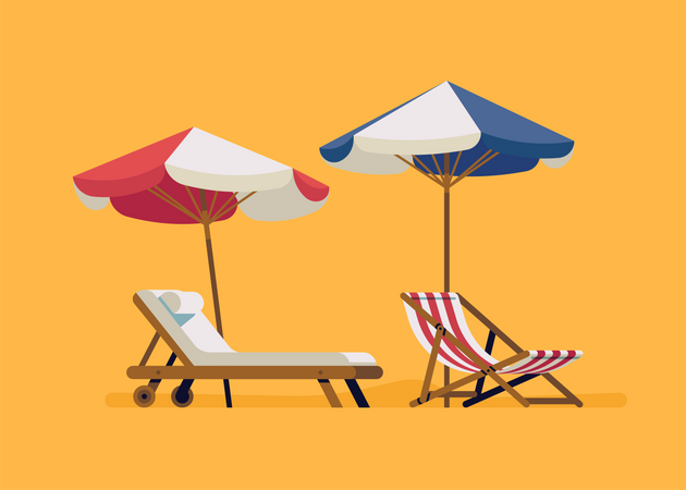 Lounge and deck chairs Illustration