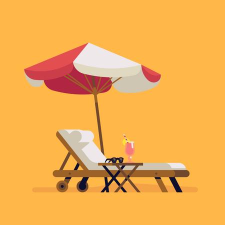 Lounge chair and sunshade umbrella Illustration
