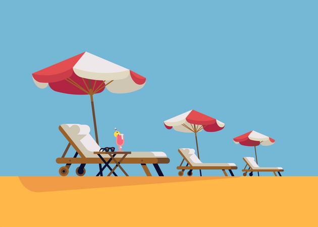 Lounge chairs and sunshade umbrellas Illustration