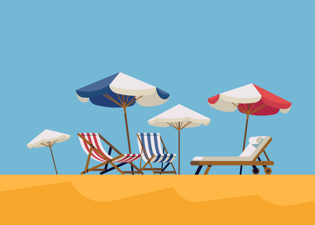 Lounge chairs and sunshade umbrellas on beach side Illustration