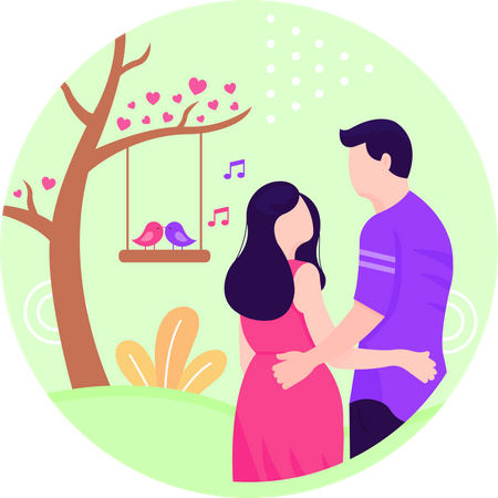 Love Birds and couple Illustration