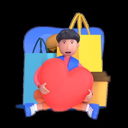 Love for shopping Illustration