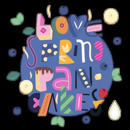 Love Spring Pancakes Illustration