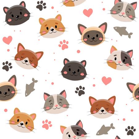Lovely pet faces pattern Illustration