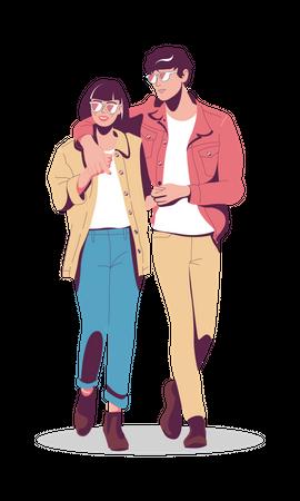Lovers walk down the street Illustration
