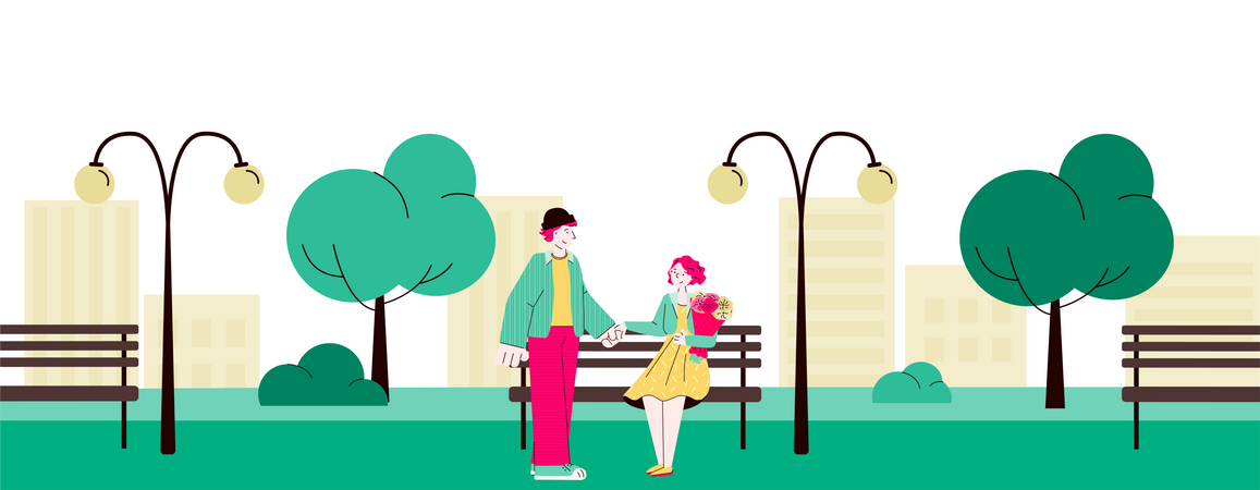 Loving couple meeting in city park Illustration