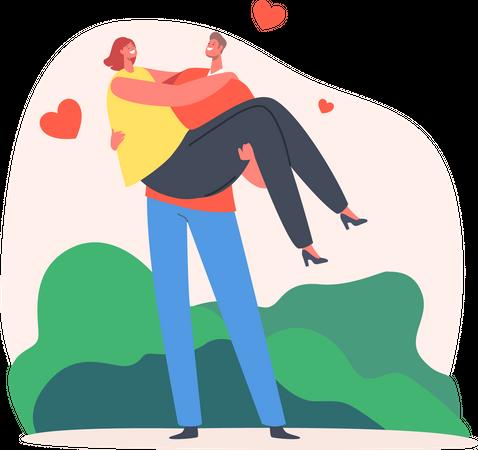 Loving Couple Romantic Relation Illustration