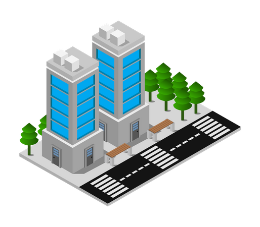 Low rise building Illustration