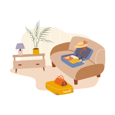 Luggage packing for summer trip Illustration