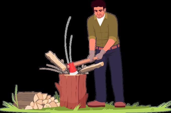 Lumberjack working in garden Illustration